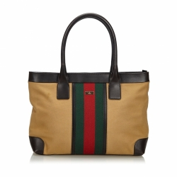 Gucci Web Canvas Tote Bag