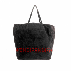 Fendi Shopping Tote bag in black and red velour