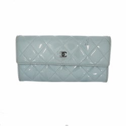 Chanel wallet in metallic blue patent