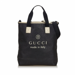 Gucci Black Coated Canvas Large Logo Tote