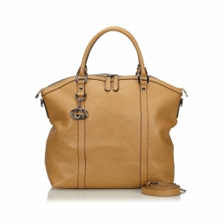 Gucci Dome Large Convertible GG Charm Tan Leather Tote