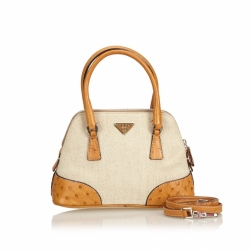 Prada Leather-Trimmed Canvas Satchel