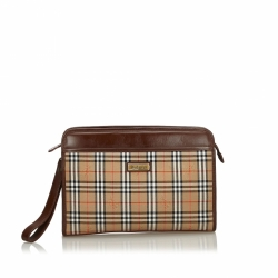 Burberry Haymarket Check Canvas Clutch Bag