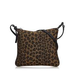 Fendi Leopard Print Canvas Crossbody Bag