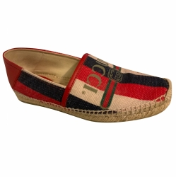 Gucci Espadrille slip on logo canvas glattieder