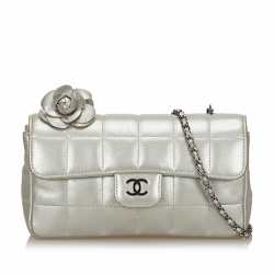 Chanel Choco Bar Camellia Lambskin Leather Chain Bag