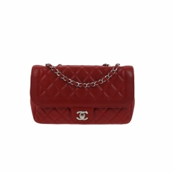 Chanel Timeless Flap bag red lambskin leather