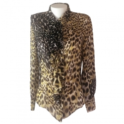 Roberto Cavalli Silk top with jabot collar