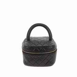 Chanel black leather Trousse