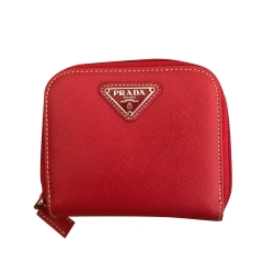 Prada Saffiano (textured) cherry red leather wallet