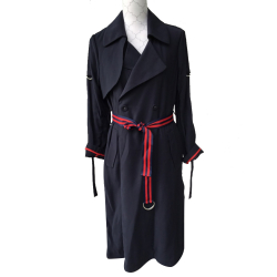 Morgan Navy trench coat with red piping