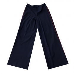 Madeleine Navy wide pants with red piping