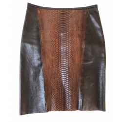 Plein Sud Brown python leather skirt