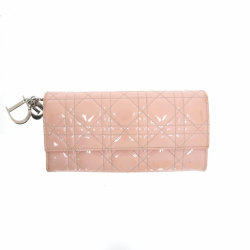 Christian Dior wallet in pink patent