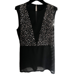 Pinko Sleeveless top with beads and sequins