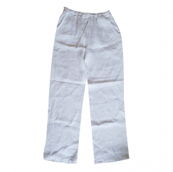 Lacoste White Lacoste linen trousers with drawstring