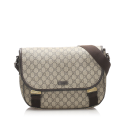 Gucci B Gucci Brown Coated Canvas Fabric GG Supreme Messenger Bag Italy