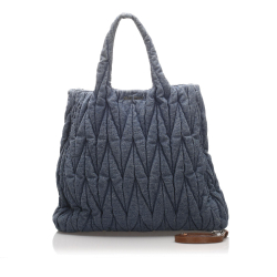 Miu Miu B Miu Miu Blue Denim Fabric Matelasse Tote Bag France