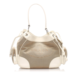 Prada B Prada Brown Beige with White Ivory Canvas Fabric Canapa Shoulder Bag Italy