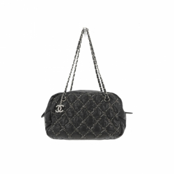 Chanel Black Quilted Bubble Nylon Tweed Stitch Camera bag