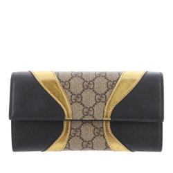 Gucci AB Gucci Brown with Black Coated Canvas Fabric GG Supreme Osiride Long Wallet Italy