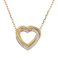 Cartier B Cartier Gold 18K Yellow Gold Metal Diamond Trinity Heart Pendant Necklace France