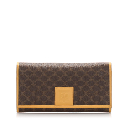 Celine B Celine Brown PVC Plastic Macadam Long Wallet France