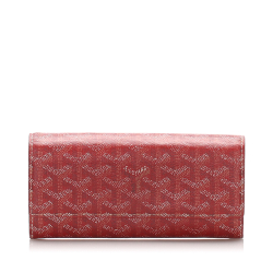 Goyard B Goyard Red with Multi Coated Canvas Fabric Goyardine Varenne Long Wallet France
