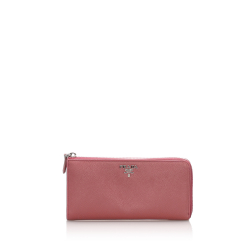 Prada B Prada Pink Calf Leather Saffiano Long Wallet Italy