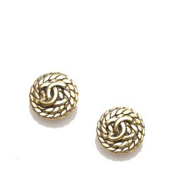 Chanel B Chanel Gold Metal CC Push Back Earrings France