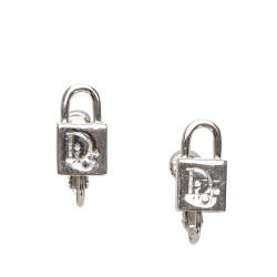 Christian Dior B Dior Silver Metal Padlock Earrings France