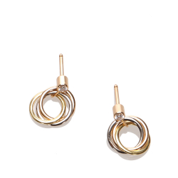 Cartier B Cartier Gold with Silver 18K Yellow Gold Metal Diamond Sweet Trinity de Cartier Earrings France