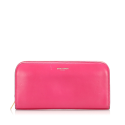 Saint Laurent B YSL Pink Calf Leather Continental Long Wallet Italy
