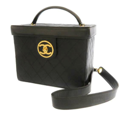 Chanel AB Chanel Black Lambskin Leather Leather Matelasse Lambskin Vanity Bag Italy