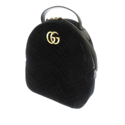 Gucci B Gucci Black Velour Fabric GG Marmont Matelasse Backpack Italy