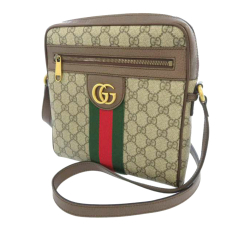 Gucci AB Gucci Brown Beige Coated Canvas Fabric GG Supreme Web Ophidia Crossbody Bag Italy