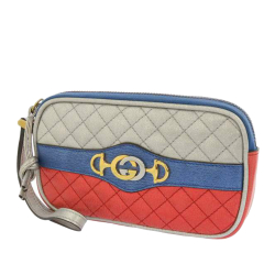Gucci AB Gucci Silver with Multi Calf Leather Trapuntata Pouch Italy