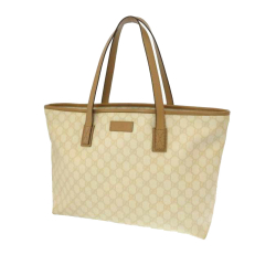Gucci AB Gucci Brown Beige Coated Canvas Fabric GG Supreme Tote Bag Italy