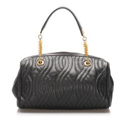 Fendi B Fendi Black with Gold Calf Leather Quilted Handbag Italy