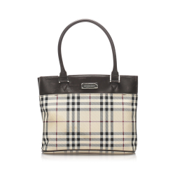 Burberry AB Burberry Brown Beige with Multi Canvas Fabric House Check Handbag United Kingdom