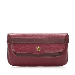 Cartier AB Cartier Red Bordeaux Calf Leather Must de Cartier Clutch France
