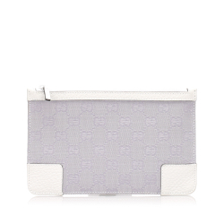 Gucci AB Gucci Purple Lavender with White Canvas Fabric GG Pouch Italy