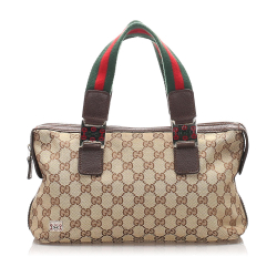 Gucci AB Gucci Brown Beige with Multi Canvas Fabric GG Web Handbag Italy