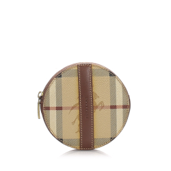Burberry B Burberry Brown Light Brown Coated Canvas Fabric Haymarket Check Coin Pouch United Kingdom