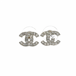Chanel CC Logo Earrings with Crystals