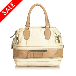 Chloé AB Chloe White Ivory with Brown Leather Shoulder Bag France