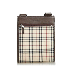 Burberry Plaid Coated Canvas Crossbody Bag