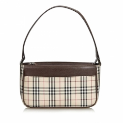 Burberry Plaid Coated Canvas Baguette
