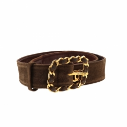 Chanel Brown Suade Leather Belt