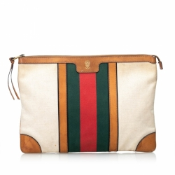Gucci Web Canvas Portfolio Clutch Bag